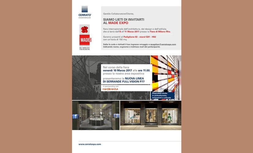 Tecnoedil Verona e Cerrato Chiusure Metalliche sono lieti di invitarti al Made Expo.