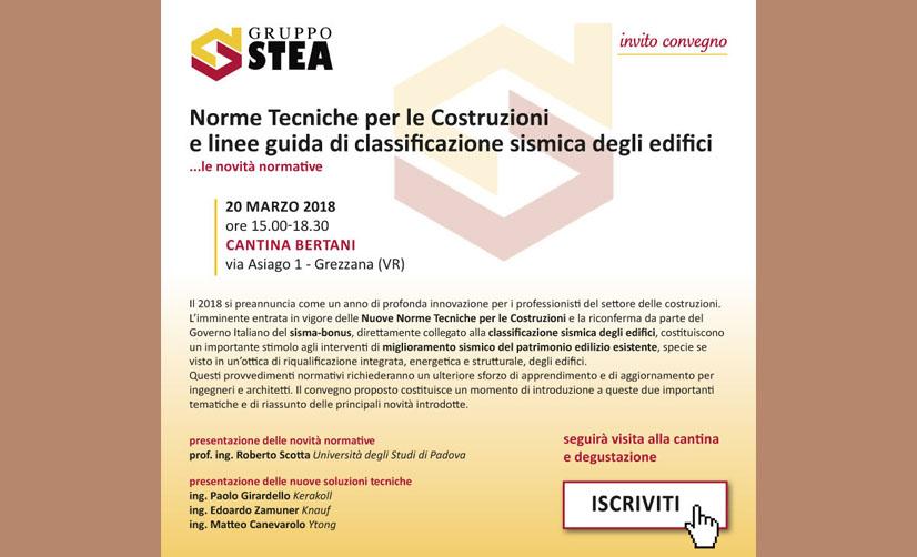 Norme tecniche per le costruzioni e linee guida di classificazione sismica degli edifici: il convegno  del 20 marzo alla Cantina Bertani di Grezzana.