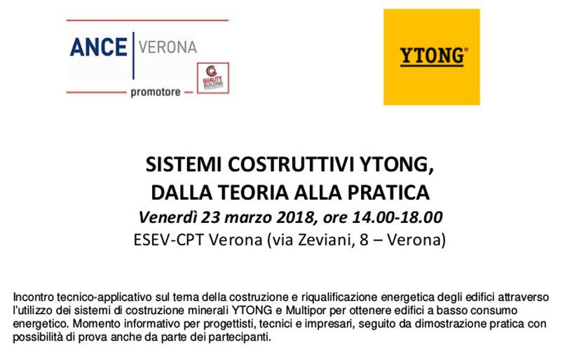Sistemi costruttivi Ytong, dalla teoria alla pratica: incontro tecnico – applicativo promosso da Ance Verona il 23 marzo.