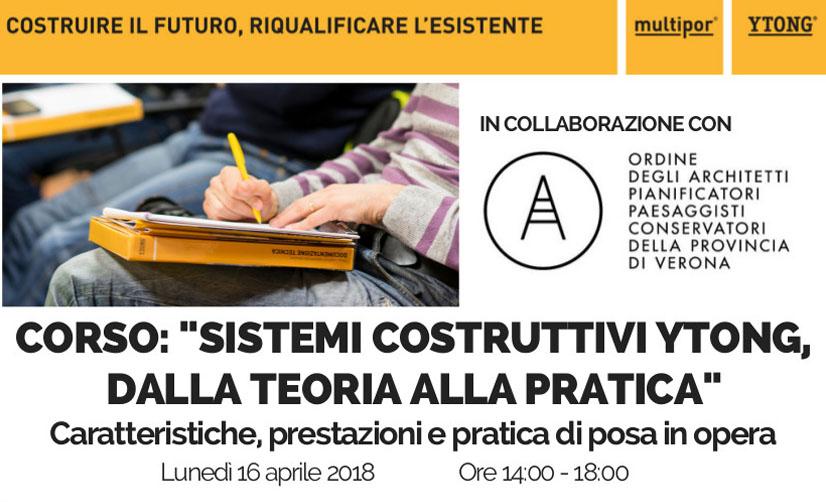 Formazione professionale: corso Ytong insieme all'Ordine degli Architetti di Verona, valido per i crediti formativi.